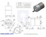 19:1 Metal Gearmotor 37Dx52L mm 12V (Helical Pinion) Pololu 4741
