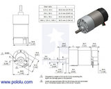 150:1 Metal Gearmotor 37Dx73L mm 24V with 64 CPR Encoder (Helical Pinion) Pololu 4697