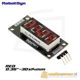 4-Digit LED Display, rood, klok, 7-segments, TM1637, 30x14mm