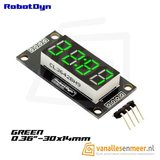 4-Digit LED Display, Groen, klok, 7-segments, TM1637, 30x14mm