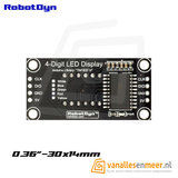 4-Digit LED Display, Rood, 7-segments, TM1637, 30x14mm