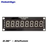 8-Digit LED Display Blauw 7-segments, decimale punten, 61x14mm, 74HC595