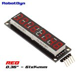 8-Digit LED Display Rood  7-segments, decimale punten, 61x14mm, 74HC595