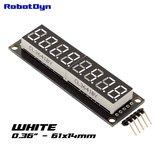 8-Digit LED Display Wit 7-segments, decimale punten, 61x14mm, 74HC595