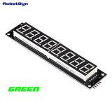 8-Digit LED Display Groen Tube 7-segments, decimale punten, 101x19mm, 74HC595