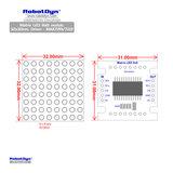 Matrix LED 8x8 module. 32x32mm. Driver - MAX7219/7221-White Robotdyn