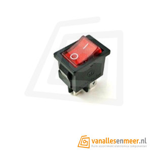 Rocker Switch Rood Verlicht KCD1 250V 6A 4pin