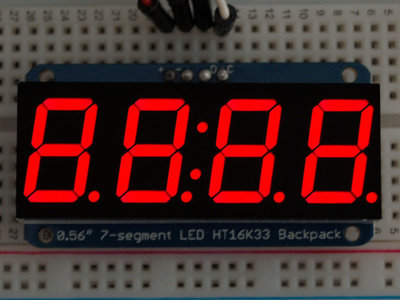 "0.56"" 4-Digit 7-Segment Display w/I2C Backpack Rood  adafruit 878"