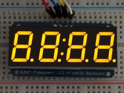 """0.56"""" 4-Digit 7-Segment Display w/I2C Backpack Geel  adafruit 879"""
