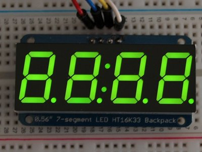 "0.56"" 4-Digit 7-Segment Display w/I2C Backpack Groen adafruit 880"