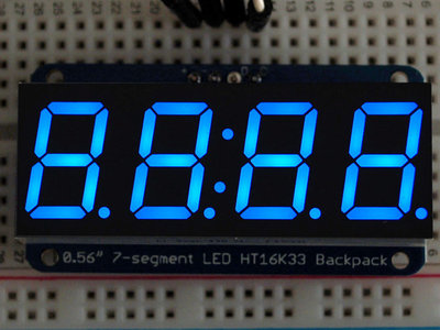 "0.56"" 4-Digit 7-Segment Display w/I2C Backpack Blauw adafruit 881"