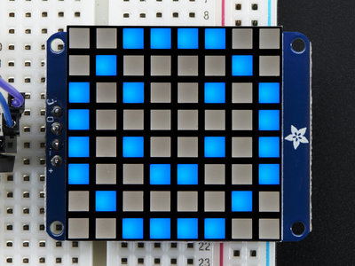 8x8 Ultra Bright Square Blue LED Matrix + Backpack  Adafruit 1853