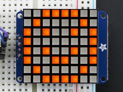8x8 Ultra Bright Square Amber LED Matrix + Backpack  Adafruit 1854
