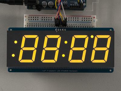 "1.2"" 4-Digit 7-Segment Display w/I2C Backpack - Yellow  Adafruit 1269"