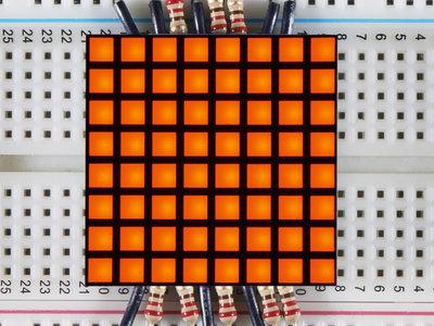 "1.2"" 8x8 Matrix Square Pixel - Amber Adafruit 1818"