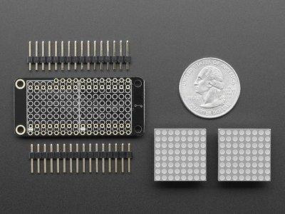 """0.8"""" 8x16 LED Matrix FeatherWing Display Kit - Green  Adafruit 3151"""