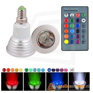 RGB 5W LED Spot Lamp E14 met Afstandbediening