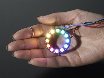 NeoPixel Ring - 12 x 5050 RGBW LEDs w/ Integrated Drivers - Warm White - ~3000K Adafruit 2851