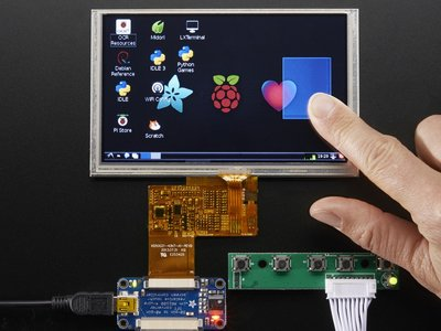 "HDMI 4 Pi: 5"" Display w/Touch and Mini Driver - 800x480 HDMI  Adafruit 2109"