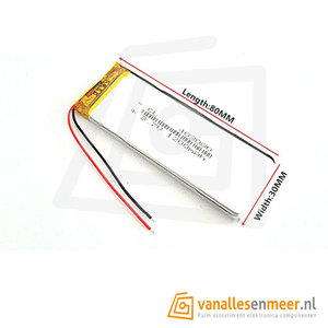 Lithium Ion Polymer batterij - 3,7 V 1200mAh 80x30x4mm