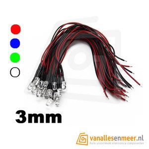 3mm led helder met kabel 20cm 12v