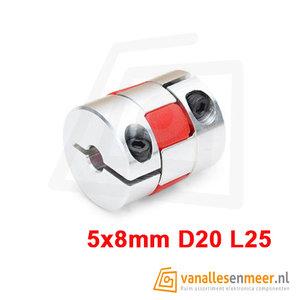 Flexibele Motorkoppeling 5 naar 8mm cnc