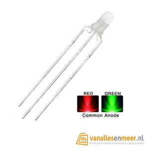 3mm led Bi-Color Red Geen Common Anode Diffuus