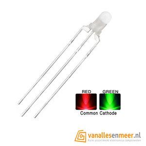 3mm led Bi-Color Red Geen Common Cathode Diffuus