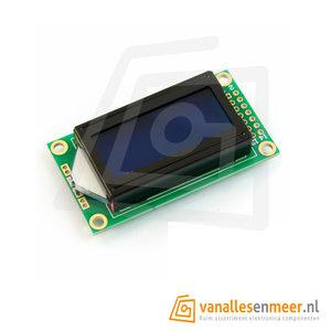 LCD Display 0802  pixels wit op blauw