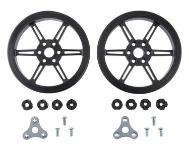 Multi-Hub Wheel for 3mm  4mm Shafts - 80×10mm, Black, 2-pack  Pololu 3690