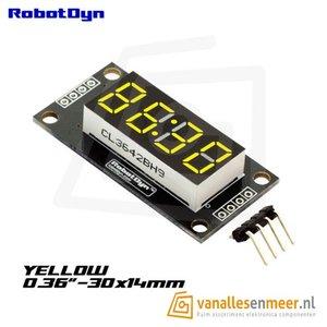 4-Digit LED Display, Geel, klok, 7-segments, TM1637, 30x14mm