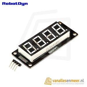 4-Digit LED Display, Wit, 7-segments, TM1637, 50x19mm