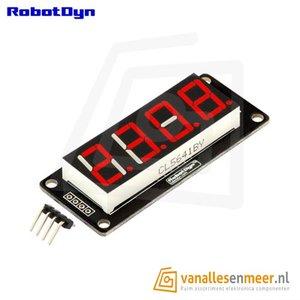4-Digit LED Display, Rood, 7-segments, TM1637, 50x19mm