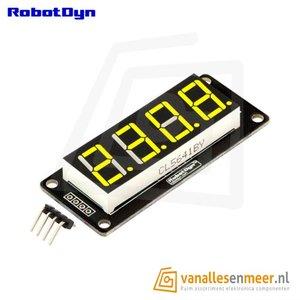 4-Digit LED Display, Geel, 7-segments, TM1637, 50x19mm