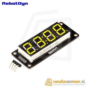 4-Digit LED Display, Klok, Geel, 7-segments, TM1637, 50x19mm