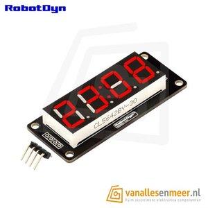4-Digit LED Display, Klok, Rood, 7-segments, TM1637, 50x19mm