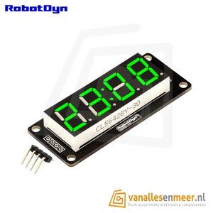 4-Digit LED Display, Klok, Groen, 7-segments, TM1637, 50x19mm